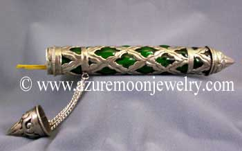 Glass Incense Storage Tube - Emerald Green
