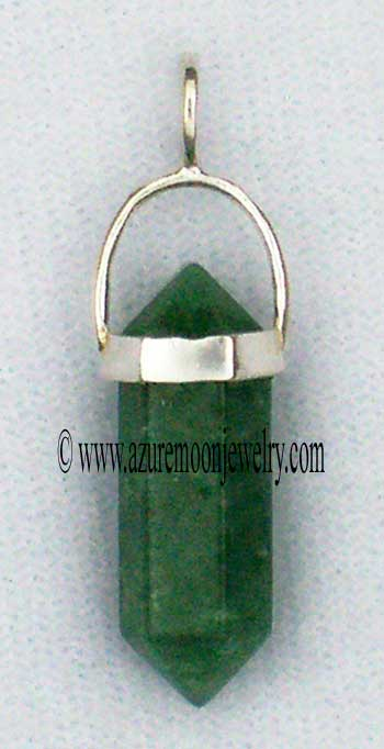 Double Terminated Aventurine Mini - Point Pendant In Sterling Silver