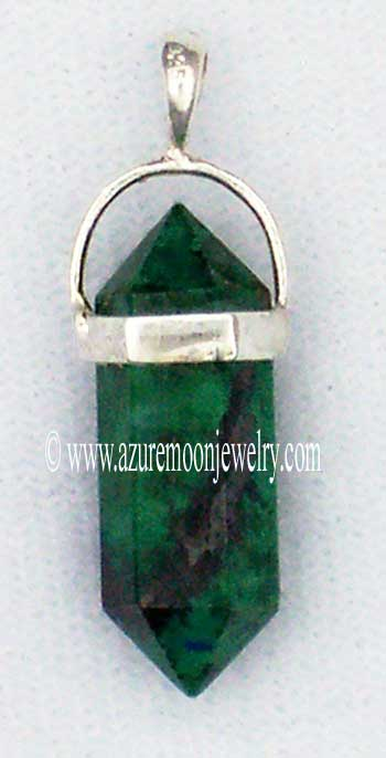 Double Terminated Chrysocolla Point Mini - Pendant In Sterling Silver