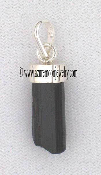 Black Tourmaline-Schorl-Rough Crystal Pendant In Sterling Silver