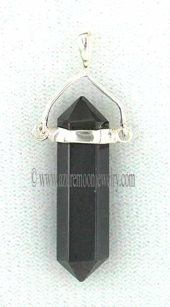 Double Terminated Hematite Point Swingle Pendant In Sterling Silver