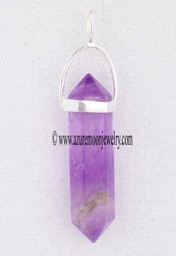 Double Terminated Amethyst Point Pendant In Sterling Silver