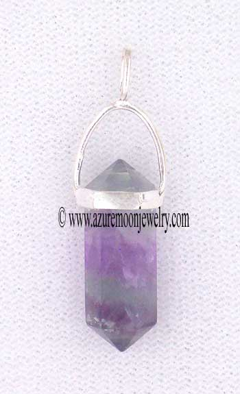 Double Terminated Rainbow Fluorite Point Mini-Pendant In Sterling Silver
