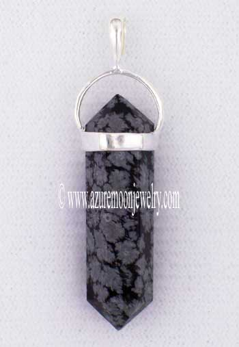 Double Terminated Snowflake Obsidian Point Pendant In Sterling Silver
