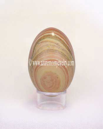 Banded Jasper Gemstone Egg With Stand