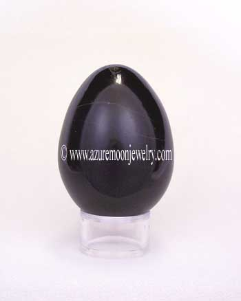 Black Onyx Gemstone Egg With Stand