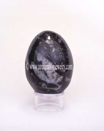Black Zebra Marble Gemstone Egg With Stand