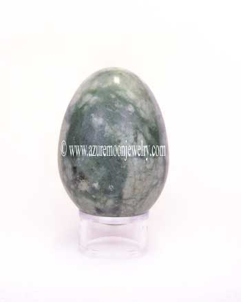 Green And White Marble Gemstone Egg With Stand