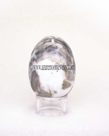 Gray And White Marble Gemstone Egg With Stand