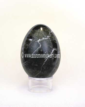 Green Zebra Marble Gemstone Egg With Stand