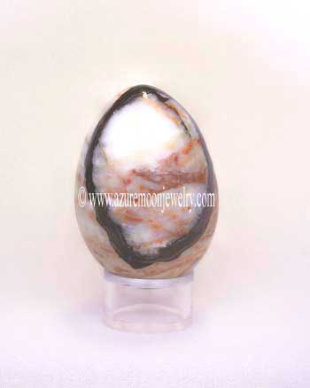 Multicolor Banded Onyx Gemstone Egg With Stand