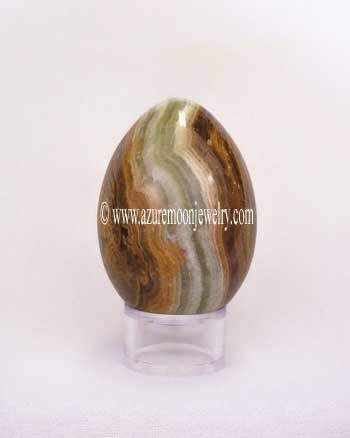 Green Multicolor Onyx Gemstone Egg With Stand