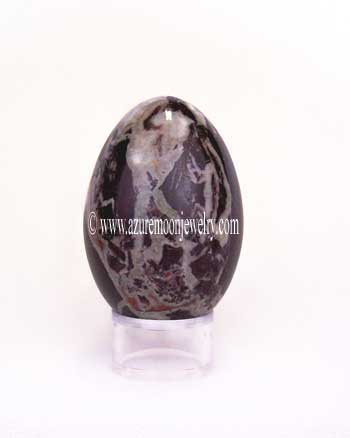 Red Zebra Marble Gemstone Egg With Stand