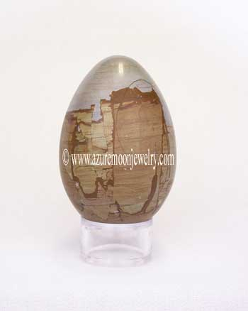 Teakwood Marble Gemstone Egg With Stand