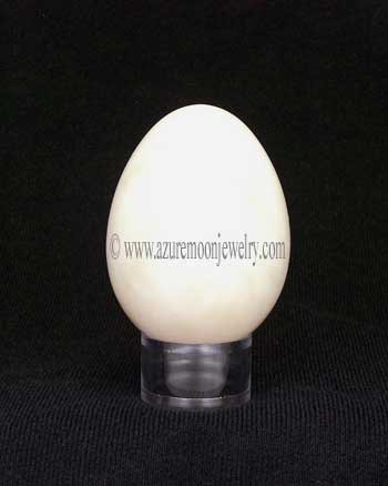 White Onyx Marble Gemstone Egg With Stand