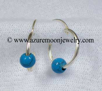 12mm Sterling Silver Hoops With Turquoise Beads