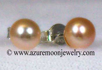 Freshwater Pearl And Sterling Silver Stud Earrings - Peach