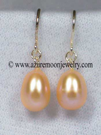 Freshwater Pearl And Sterling Silver Drop Earrings - Peach