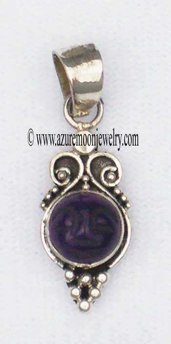 Amethyst Face In Sterling Silver Pendant - Made In Bali