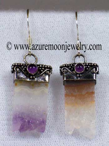 Amethyst Slices And Amethyst Cabochons In Sterling Silver Earrings - Bali