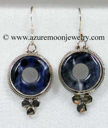 Sodalite In Sterling Silver Earrings - Made In Bali