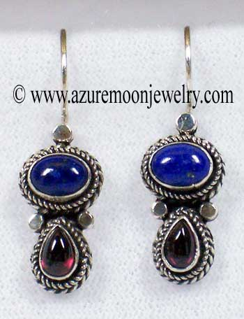 Lapis Lazuli And Garnet Sterling Silver Earrings - Made In Bali