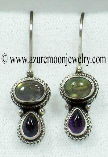 Labradorite And Amethyst Sterling Silver Earrings - Made In Bali