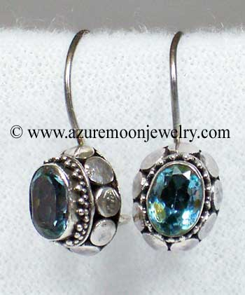 Blue Topaz In Sterling Silver Earrings - Made In Bali