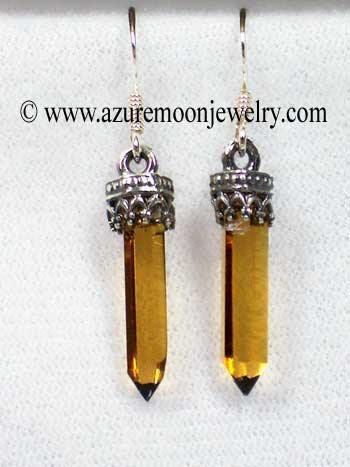 Citrine Mini - Points In Sterling Silver Earrings
