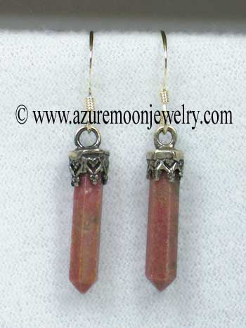 Rhodonite Mini - Points In Sterling Silver Earrings