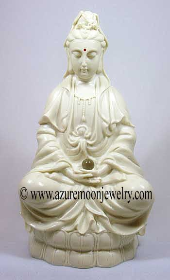 12 Inch Kuan Yin Statue With Crystal Ball