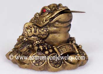 Gold Resin Chinese Money Frog On Coins