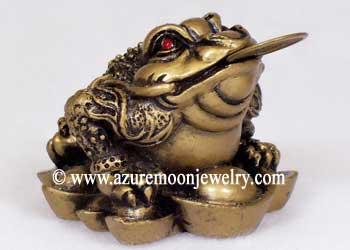Gold Resin Chinese Money Frog On Ingots