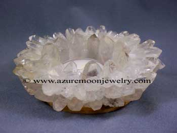 4 Inch Clear Quartz Lotus Point Candle Holder