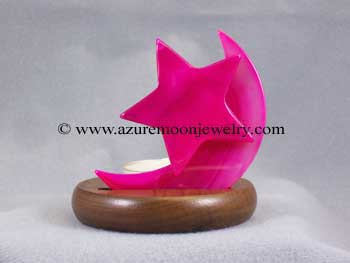 Moon And Star Agate Candle Holder - Pink