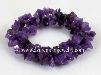 Triple Gemstone Chip Bracelet - Amethyst