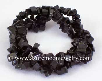 Triple Gemstone Chip Bracelet - Black Onyx
