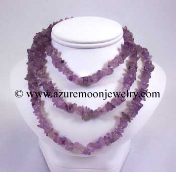 36 Inch Gemstone Chip Necklace - Amethyst