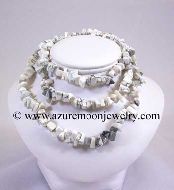 36 Inch Gemstone Chip Necklace - Howlite