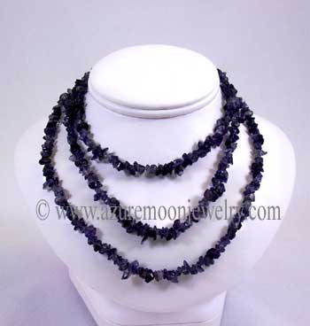 36 Inch Gemstone Chip Necklace - Iolite
