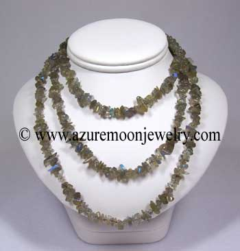36 Inch Gemstone Chip Necklace - Labradorite
