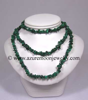 36 Inch Gemstone Chip Necklace - Malachite