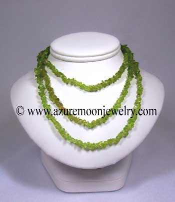 36 Inch Gemstone Chip Necklace - Peridot