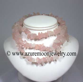 36 Inch Gemstone Chip Necklace - Rose Quartz