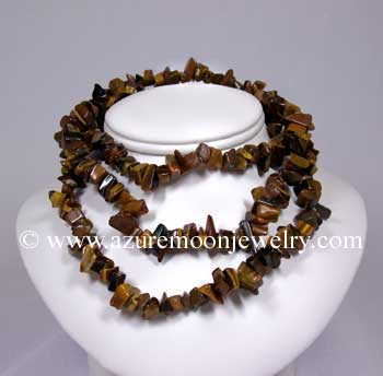 36 Inch Gemstone Chip Necklace - Tiger Eye