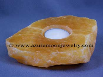 Orange Calcite Slab Candle Holder