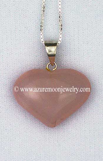 Rose Quartz Puffy Heart Pendant - LG - With Sterling Silver Box Chain