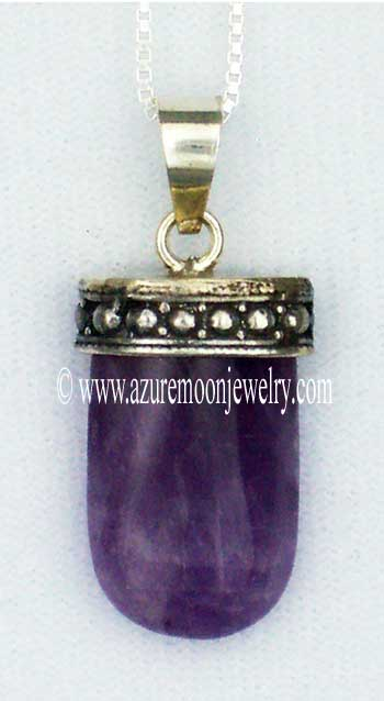 Amethyst Tongue Pendant In Sterling Silver With Sterling Silver Box Chain