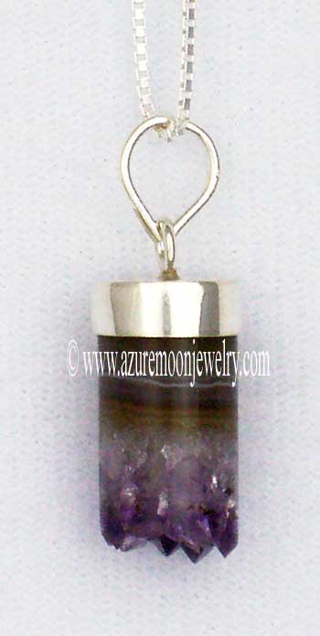 Amethyst Cylinder Pendant In Sterling Silver With Sterling Silver Box Chain