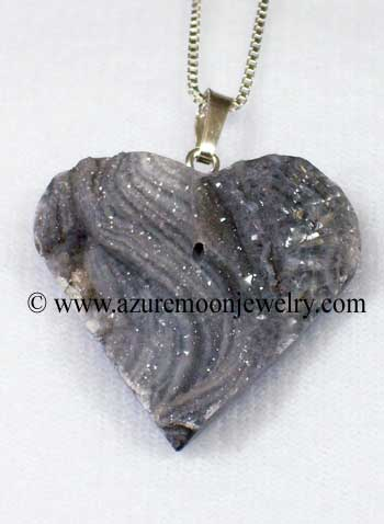 Agate Druzy Heart Pendant With Sterling Silver Box Link Chain